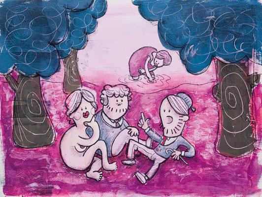 Frühstück im Grünen, Acryl Zeichnung nackte Frau mit zwei Männern von Frank Schulz Art, Meisterwerk Reloaded nach Manet