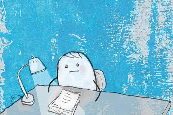 Prokrastination, Digital kolorierte Zeichnung von Frank Schulz Art