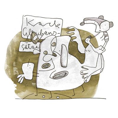 Illustration Negative Glaubenssätze, Zeichnung mit Tusche auf Papier und digitaler Farbe von Frank Schulz Art, zeigt verbundene Kreaturen und Psychoprobleme
