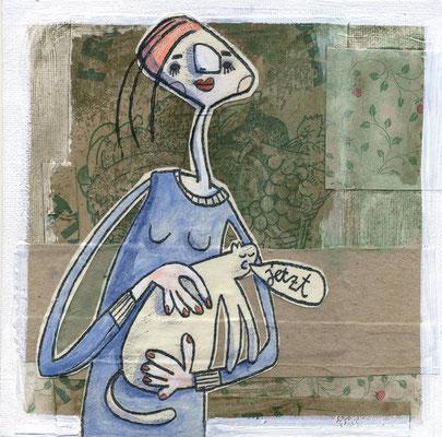 Dame mit dem Hermelin, Acryl Zeichnung Frau mit weißer Katze von Frank Schulz Art, Meisterwerk Reloaded nach Da Vinci