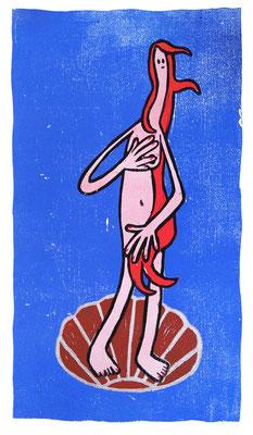 die Geburt der Venus, Holzschnitt Frau in Muschel vor Blau von Frank Schulz Art, Meisterwerk Reloaded nach Botticelli