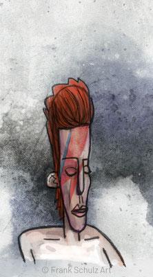 David Bowie, Digital kolorierte Zeichnung von Frank Schulz Art