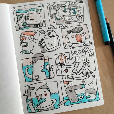 Skizzenbuch Seite von Frank Schulz Art zeigt comicartige Kreaturen und Tiere mit Humor