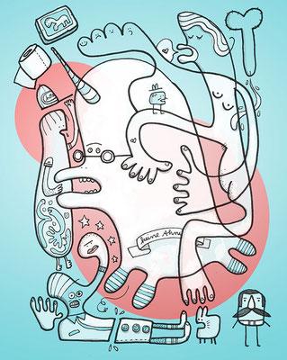 Zeichnung eines Einhorns und anderer Figuren im Durcheinander, digital koloriert vor Grün und Rot