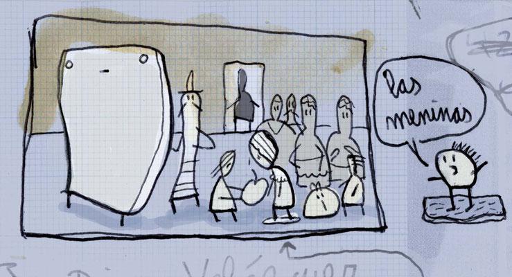 Las Meninas, Acryl Zeichnung von Frank Schulz Art, Meisterwerk Reloaded nach Velazquez