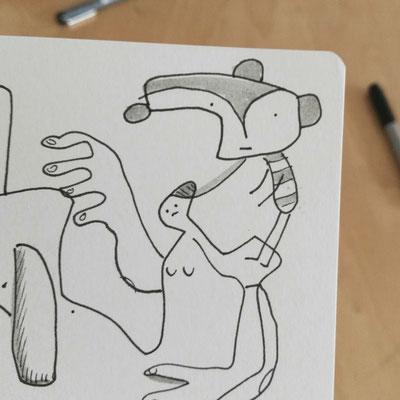 Skizzenbuch Seite Detail zeigt verbundene Kreaturen und Psychoprobleme