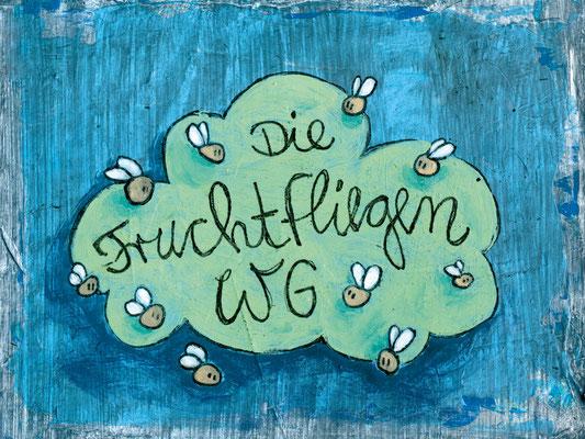 FRUCHTFLIEGEN WG, Acryl auf Holz, 15 x 20 cm
