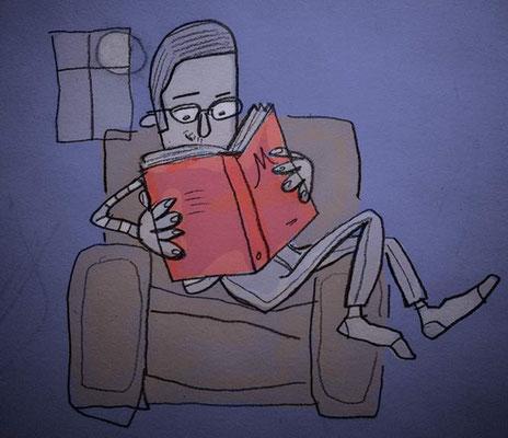 Lesender Junge auf Sessel, Digital kolorierte Zeichnung von Frank Schulz Art