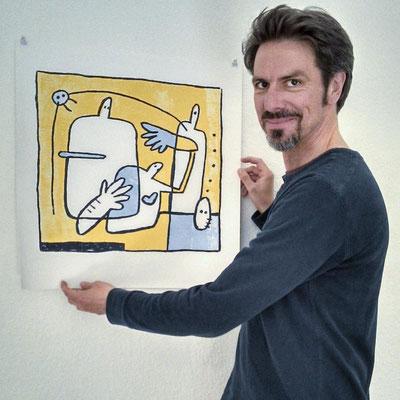 Frank Schulz Art bei der Arbeit, Frank präsentiert einen Fine Art Print