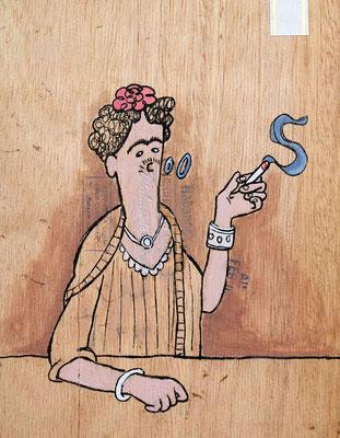 Frida Kahlo raucht | Zeichnung in Acryltechnik auf Zigarrenkiste