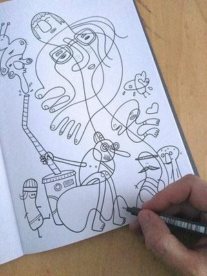 Gedanken während des Zeichnens – Tuschezeichnung, digital koloriert in Procreate