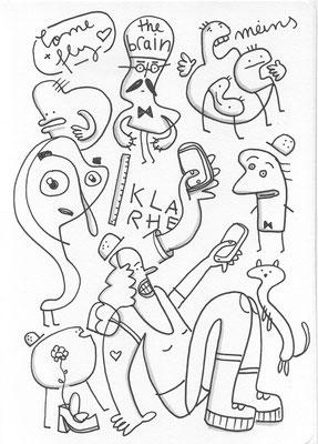 """Scan der Zeichnung """"Figuren mit Bauhelmen"""" von Frank Schulz Art, Berlin"""