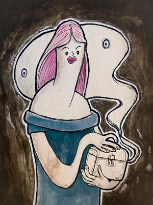 Pandora mit Büchse, Acryl Zeichnung Frau mit Geist von Frank Schulz Art, Meisterwerk Reloaded nach Rossetti