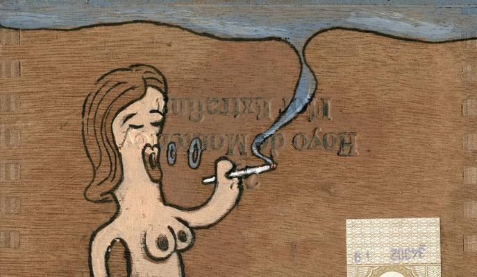 Nackte Dame macht Rauchkringel | Zeichnung in Acryltechnik auf Zigarrenkiste
