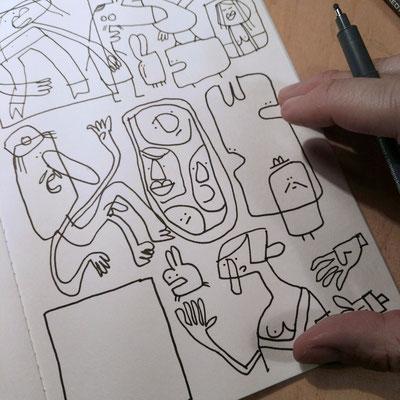 Skizzenbuch Seite Trübsinn und Depression, Zeichnung mit Tusche auf Papier von Frank Schulz Art, zeigt comicartige Kreaturen und Tiere mit depressiven Neigungen