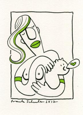 Dame mit dem Hermelin, Tusche Zeichnung Frau mit weißer Katze von Frank Schulz Art, Meisterwerk Reloaded nach Da Vinci