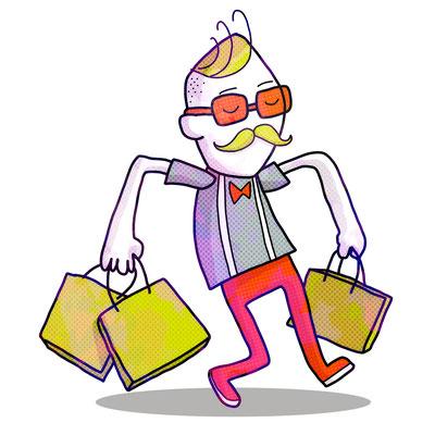 Hipster im stylischen Outfit beim Shopping in Berlin.