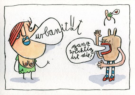 URBANITÄT ÜBER ALLES (Zwei Kreaturen im Dialog), Zeichnung und Aquarell auf Papier von Frank Schulz Art
