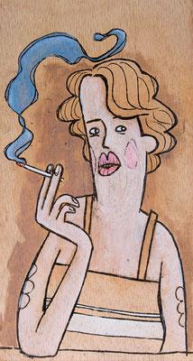 Rauchende Frau blickt nachdenklich | Zeichnung in Acryltechnik auf Zigarrenkiste