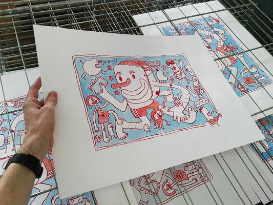 Frank Schulz Art in der Druckwerkstatt, ein Siebdruck mit Aquarell Kolorierung entsteht
