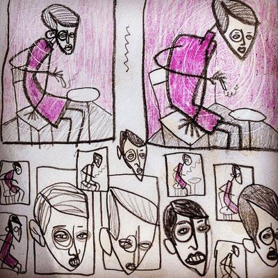Frank Schulz Art in der Druckwerkstatt, Skizze für eine Radierung nach dem Motiv Sylvia von Harden von Otto Dix