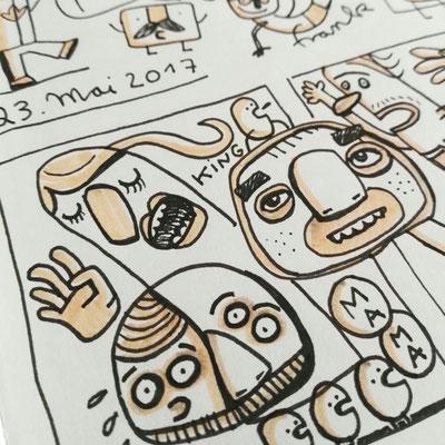 Zeichnung mit Tusche auf Papier von Frank Schulz