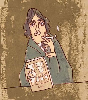 Oscar Wilde, Digital kolorierte Zeichnung von Frank Schulz Art