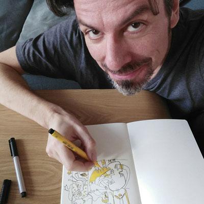 Frank Schulz zeichnet Lebe jetzt, Zeichnung mit Tusche auf Papier und digitaler Farbe von Frank Schulz Art, zeigt verbundene Kreaturen