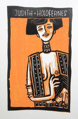 Judith I, Holzschnitt Frau mit Kopf des Holofernes von Frank Schulz Art, Meisterwerk Reloaded nach Gustav Klimt