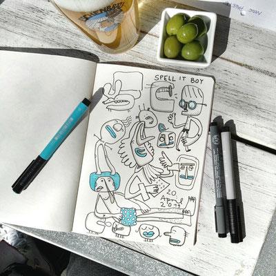 Illustration Kreaturen, Zeichnung im Skizzenbuch an Bierglas und Oliven mit Tusche von Frank Schulz Art