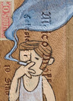 Junger Mann im Unterhemd raucht | Zeichnung in Acryltechnik auf Zigarrenkiste