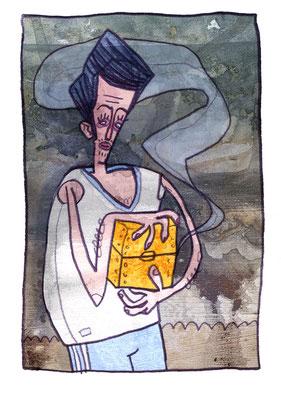 Pandora mit Büchse, Acryl Zeichnung Mann mit Box von Frank Schulz Art, Meisterwerk Reloaded nach Rossetti