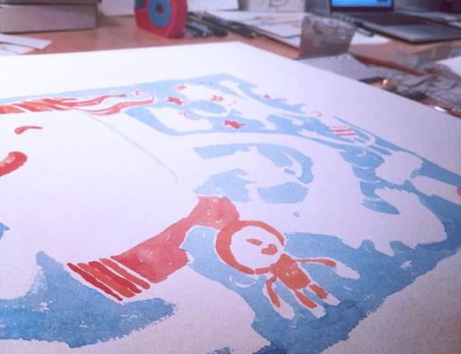 Frank Schulz Art in der Druckwerkstatt, Aquarell Kolorierung für einen Siebdruck