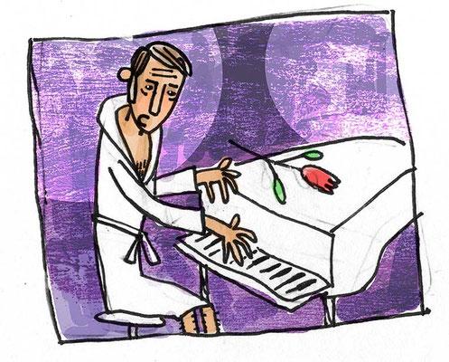 Udo Jürgens am weißen Flügel, Digital kolorierte Zeichnung von Frank Schulz Art