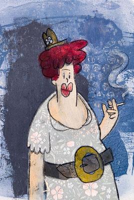 Rauchende Tante in schickem Outfit | Zeichnung in Acryltechnik auf Leinwand