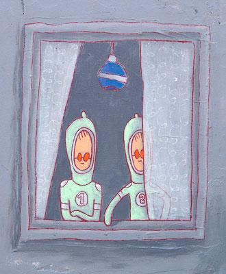 SELTSAME TYPEN, Acryl auf Holz, 30 x 20 cm