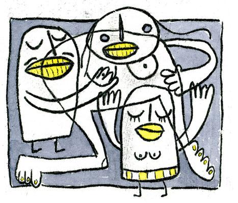 SCHWERES GEFUMMEL (Kreaturen auf Grau), Zeichnung und Aquarell auf Papier von Frank Schulz Art