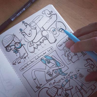 Skizzenbuch Seite Fantasie Figuren, Zeichnung mit Tusche auf Papier von Frank Schulz Art, zeigt Kreaturen und Tiere als Comic