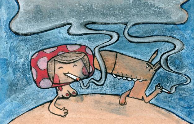 Im Märchen wird geraucht | Zeichnung in Acryltechnik auf Holz