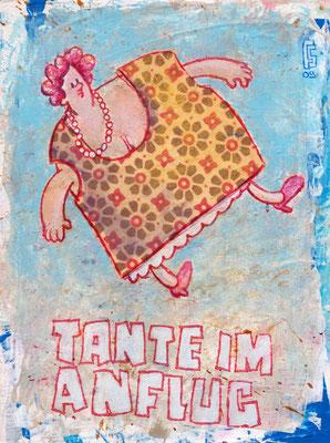 TANTE IM ANFLUG, Acryl auf Holz, 20 x 15 cm