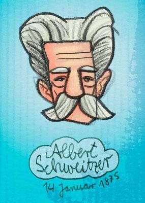 Albert Schweitzer, Digital kolorierte Zeichnung von Frank Schulz Art