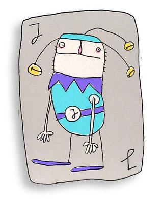 Joker Spielkarte, Digital kolorierte Zeichnung von Frank Schulz Art