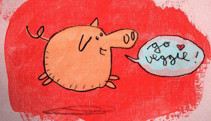 Springendes Schwein vor rotem Hintergrund, Digital kolorierte Zeichnung von Frank Schulz Art