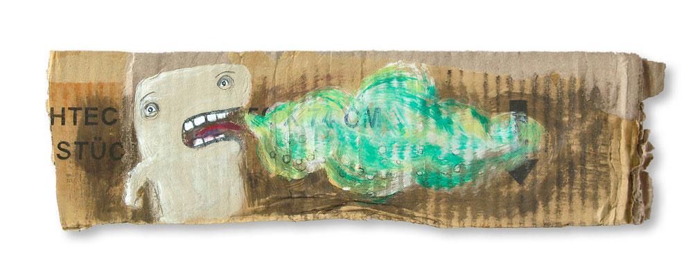 SCHLECHTE MANIEREN, Acryl auf Pappe, 5 x 20 cm, © Frank Schulz 2009