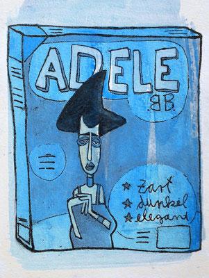 Adele Bloch-Bauer I , Acryl Zeichnung Frau auf blauer Schachtel von Frank Schulz Art, Meisterwerk Reloaded nach Gustav Klimt