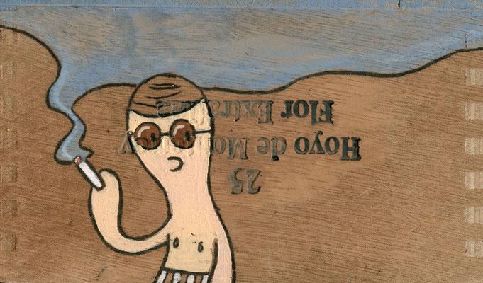 Sehr junger Raucher | Zeichnung in Acryltechnik auf Zigarrenkiste