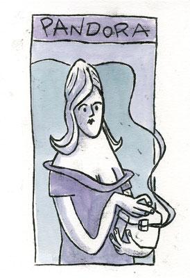 Pandora mit Büchse, Acryl Zeichnung Frau mit Büchse in blau grau von Frank Schulz Art, Meisterwerk Reloaded nach Rossetti