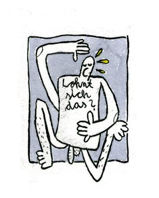 LOHNT SICH DAS? (Kreatur auf Grau), Zeichnung und Aquarell auf Papier von Frank Schulz Art