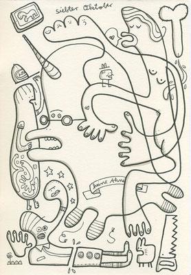 Zeichnung eines Einhorns und anderer Figuren im Durcheinander, Originalzeichnung im Skizzenbuch