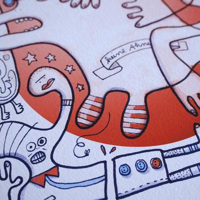 Detailansicht des Fine Art Prints Einhorn in Panik
